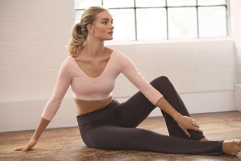 Rosie Huntington-Whiteley models her new Autograph activewear line available at Marks & Spencer