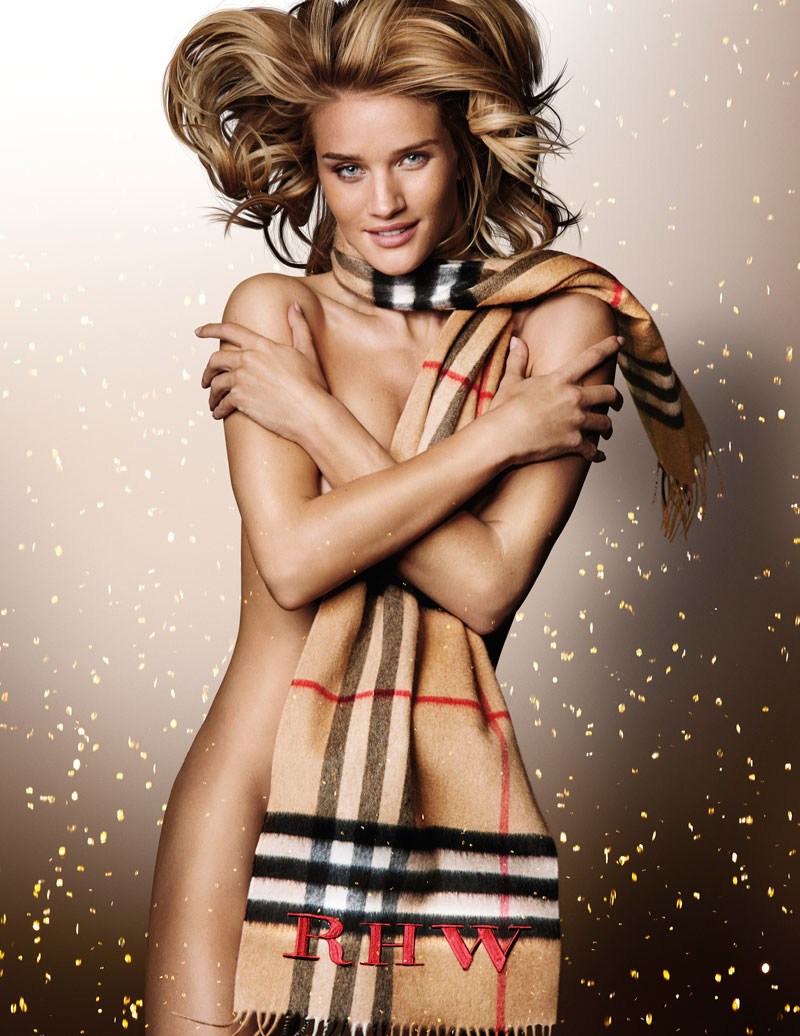 Rosie Huntington-Whiteley goes naked for Burberry festive campaign in cashmere scarf