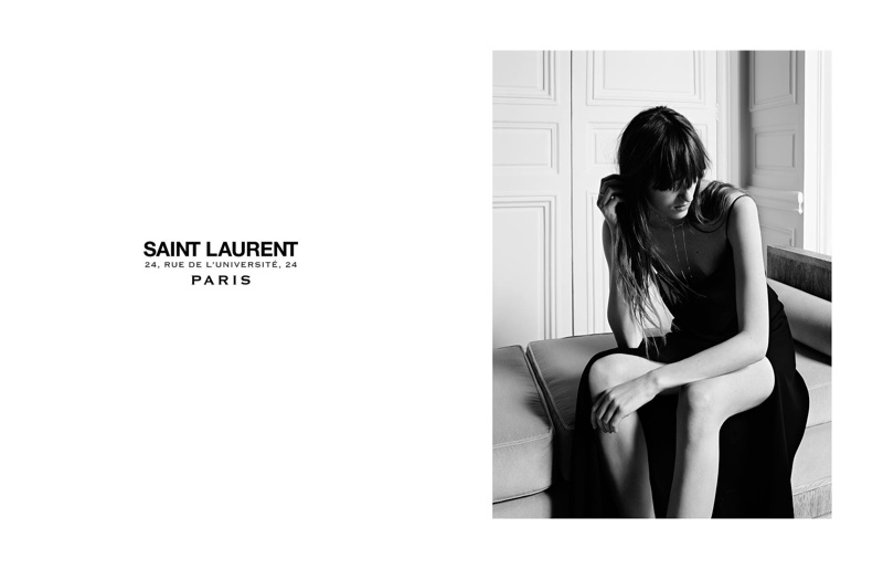 The model poses for Hedi Slimane in the black and white images
