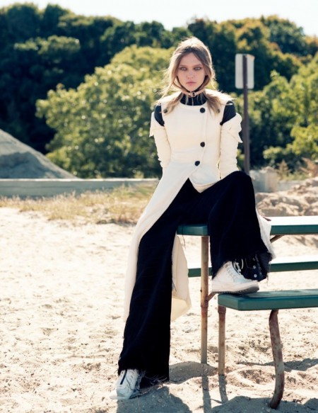 Sasha Pivovarova Heads Outdoors for Intermission Editorial