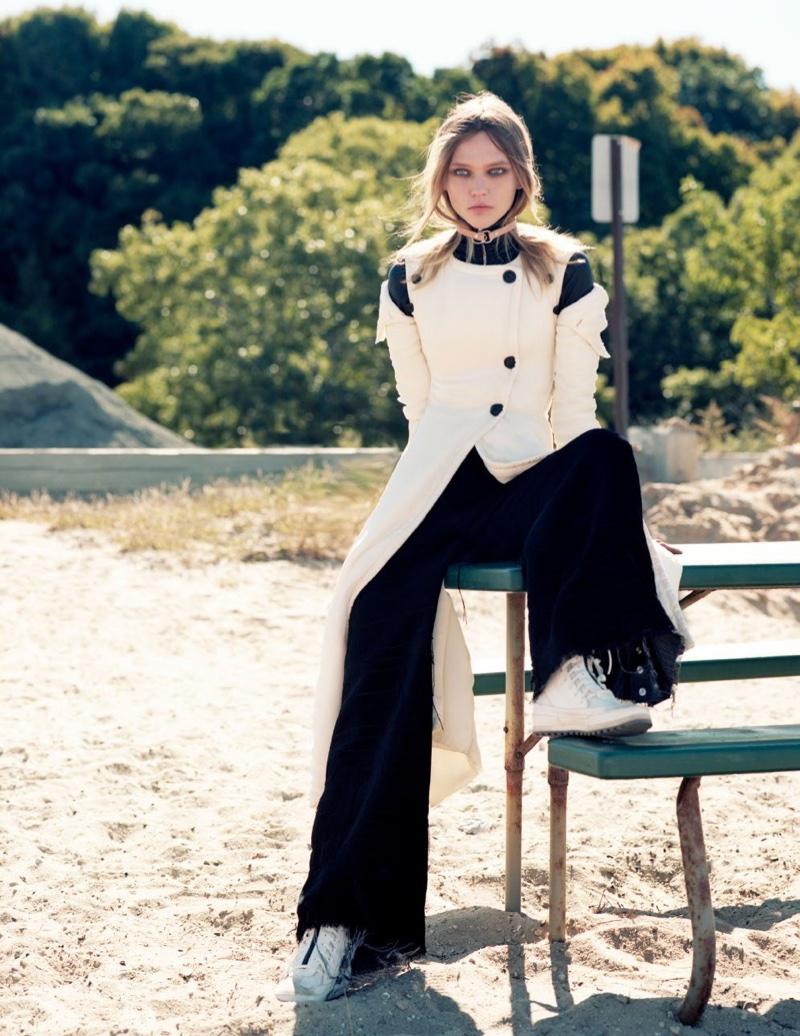 Sasha Pivovarova Heads Outdoors for Intermission Editorial