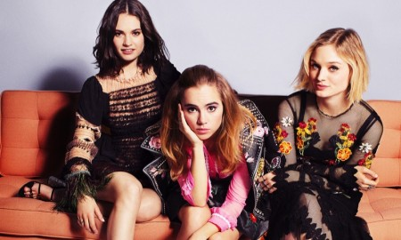 Lily James, Suki Waterhouse and Bella Heathcote in Marie Claire's January issue