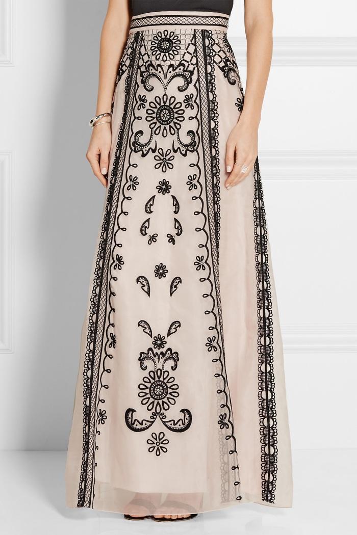 Temperley London Delphia Embroidered Silk Organza Maxi Skirt
