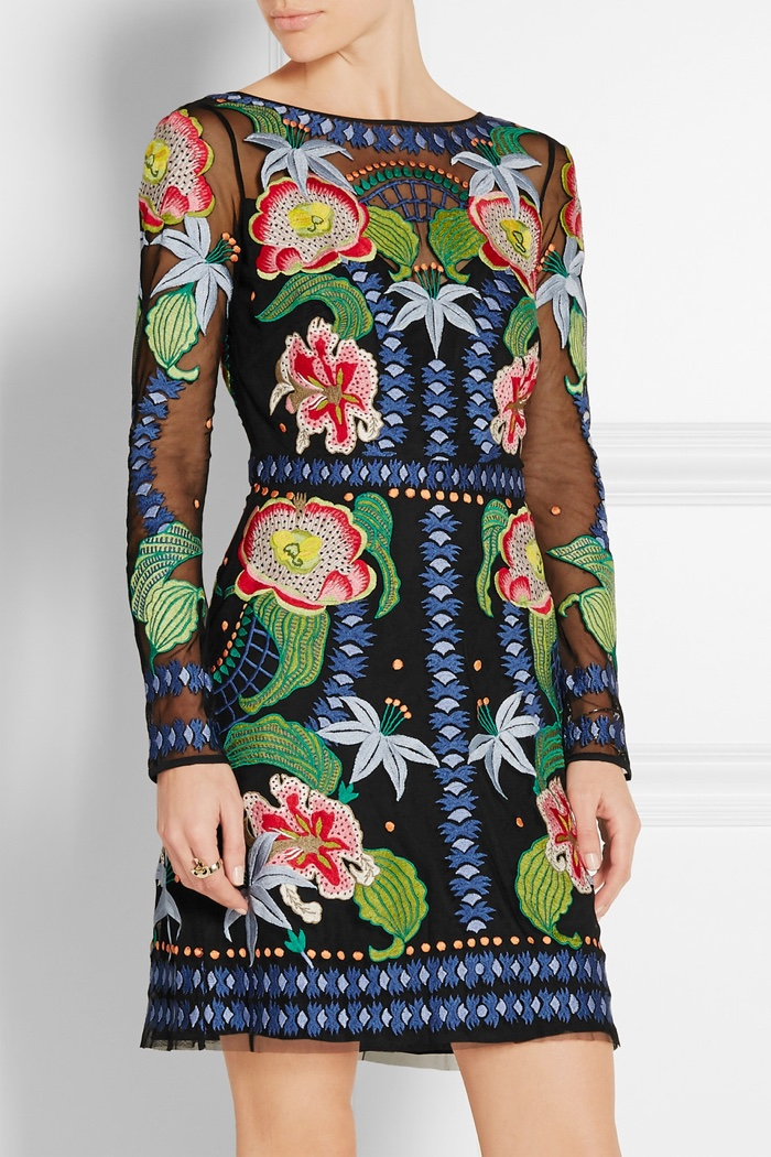 Temperley London Embroidered Tulle Mini Dress with Floral Embellishment