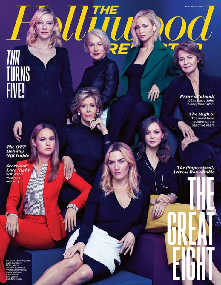 Carey Mulligan, Jennifer Lawrence, Cate Blanchett, Jane Fonda, Brie Larson, Charlotte Rampling, Kate Winslet and Helen Mirren on The Hollywood Reporter November 2015 cover