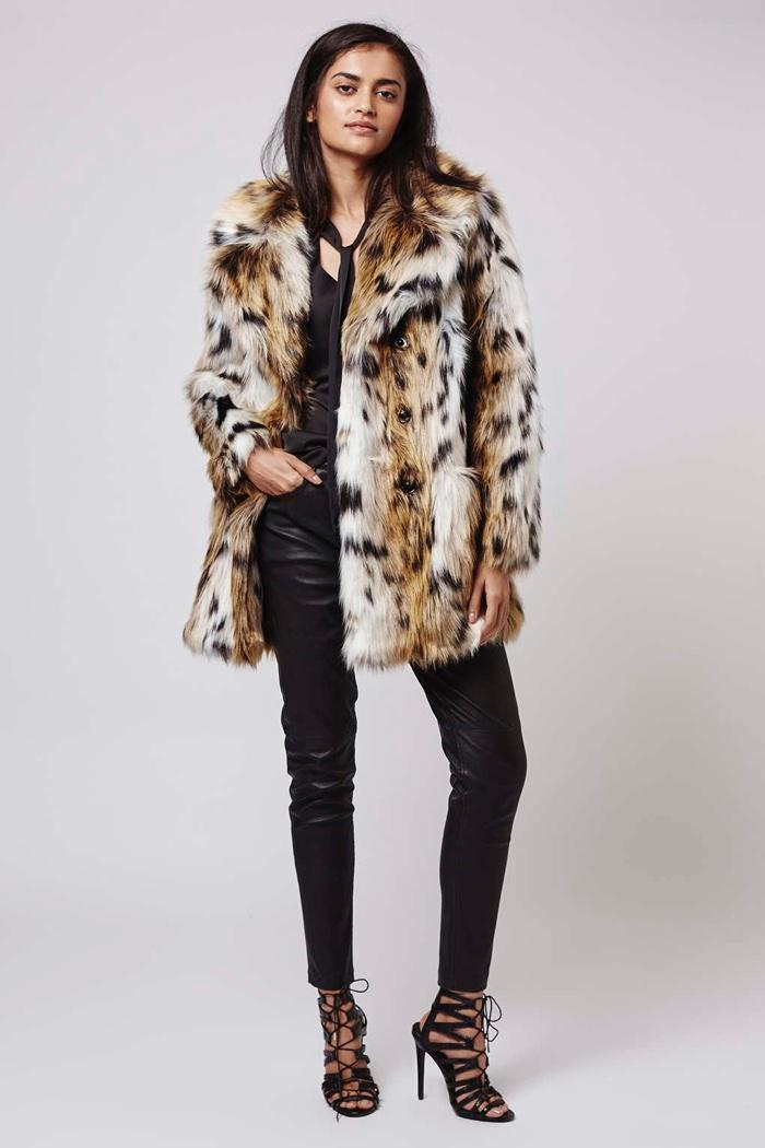 Images of Leopard Print Faux Fur Coat - Reikian