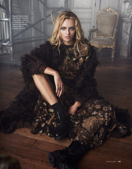 Valentina Zelyaeva Wears Embellished Style for ELLE Russia by Asa Tallgard