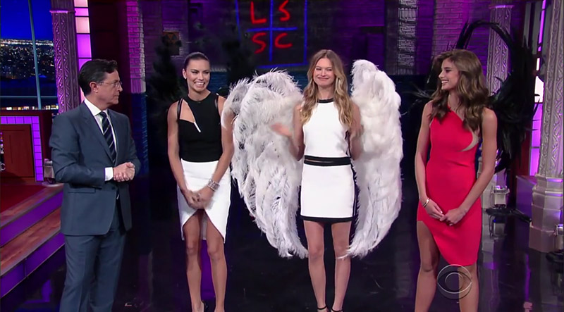 Watch Adriana Lima, Behati Prinsloo & Taylor Hill Eat Buffalo Wings on 'The Late Show'