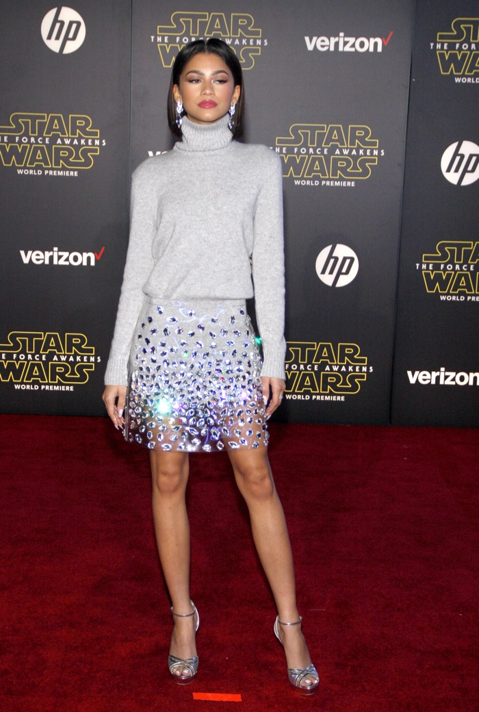 Zendaya opted for Michael Kors sweater and embellished skirt. Photo: Tinseltown / Shutterstock.com