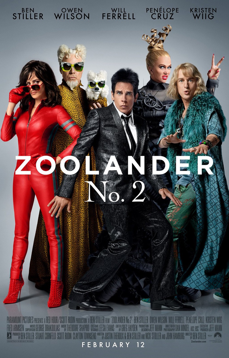 Cast of Zoolander 2 on movie poster