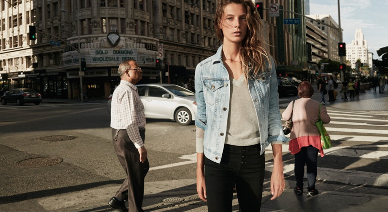 Daria poses in light-wash denim jacket from AG Jeans' spring 2016 collection