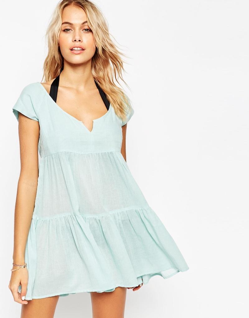 ASOS Blue Tiered Smock Beach Dress