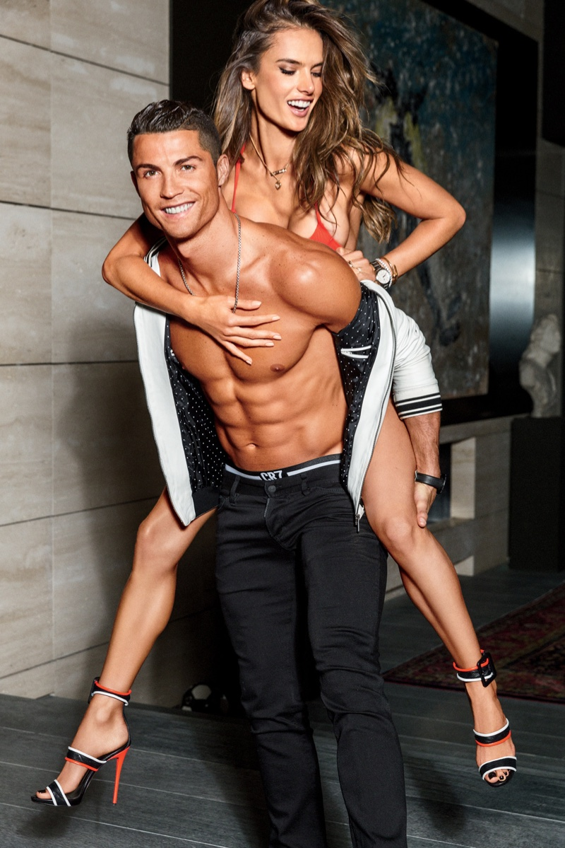 Alessandro Ambrosio gets carried by a shirtless Cristiano Ronaldo