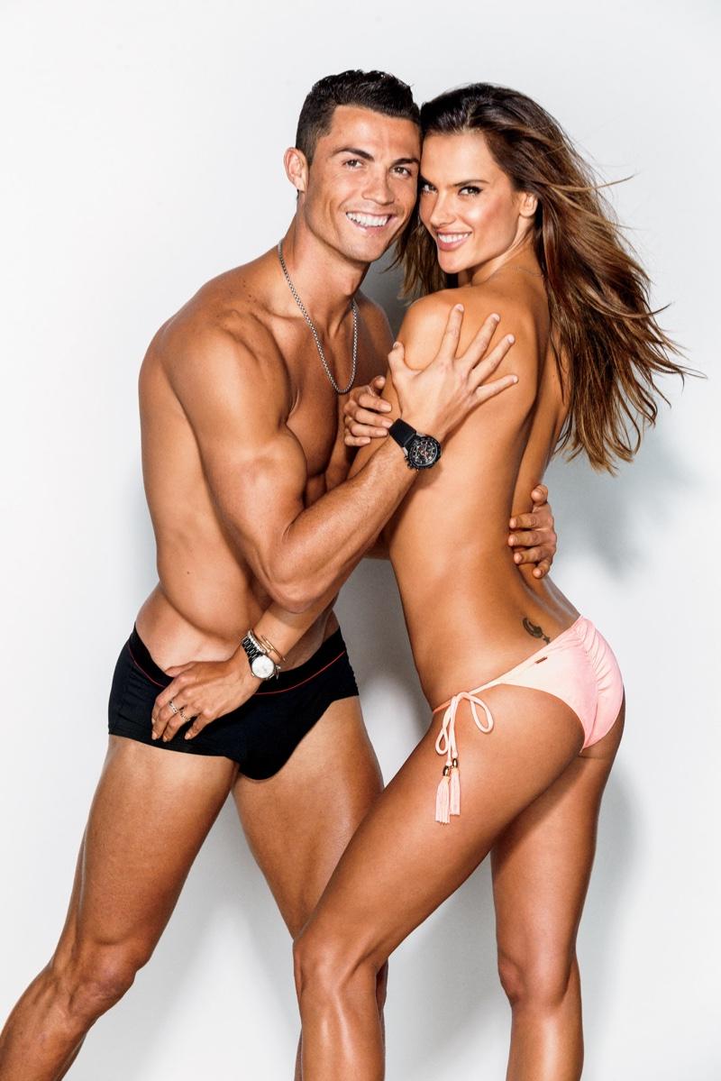 Alessandra Ambrosio poses topless with Cristiano Ronaldo