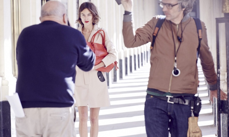 Alexa Chung behind the scenes on Longchamp's spring 2016 campaign