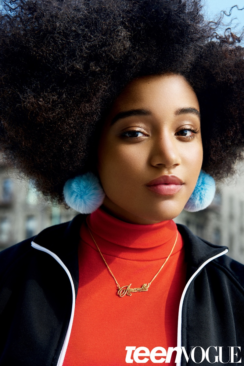 Amandla shows off her natural curls in the photoshoot