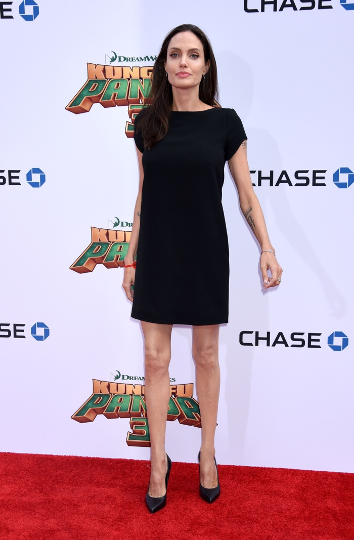 Angelina Jolie wears black mini dress at the Los Angeles premiere of Kung Fu Panda 3. Photo: Ga Fullner / Shutterstock.com