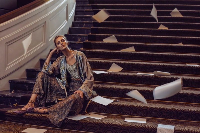 PAJAMA DRESSING: Anja Rubik poses in robe, top and trousers from Etro