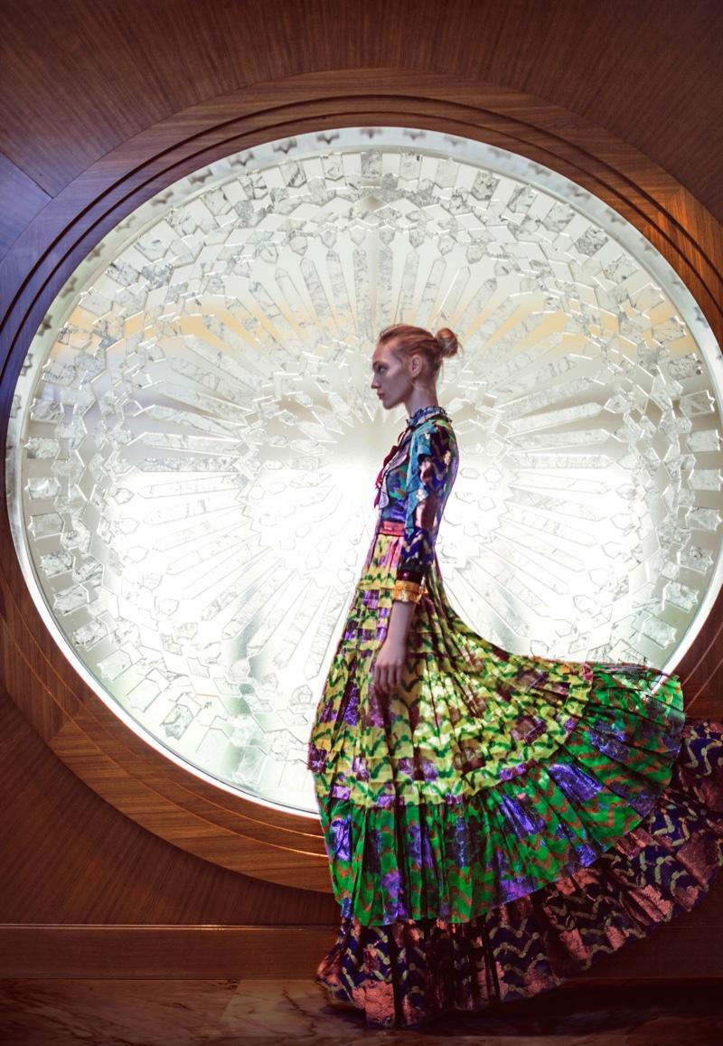 TECHNICOLOR FASHION: Anja models multi-colored maxi dress from Gucci