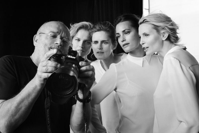 A behind the scenes image from Giorgio Armani's spring 2016 campaign
