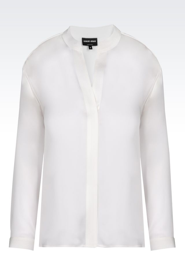 Armani New Normal White Silk Charmeuse Blouse