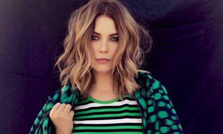 GO GREEN: Ashley Benson poses in striped green Lanvin dress with jacket
