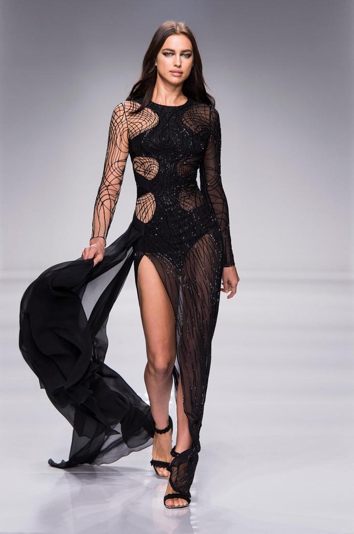 Irina Shayk Walks Atelier Versace S Spring 2016 Show Wearing A Black Gown