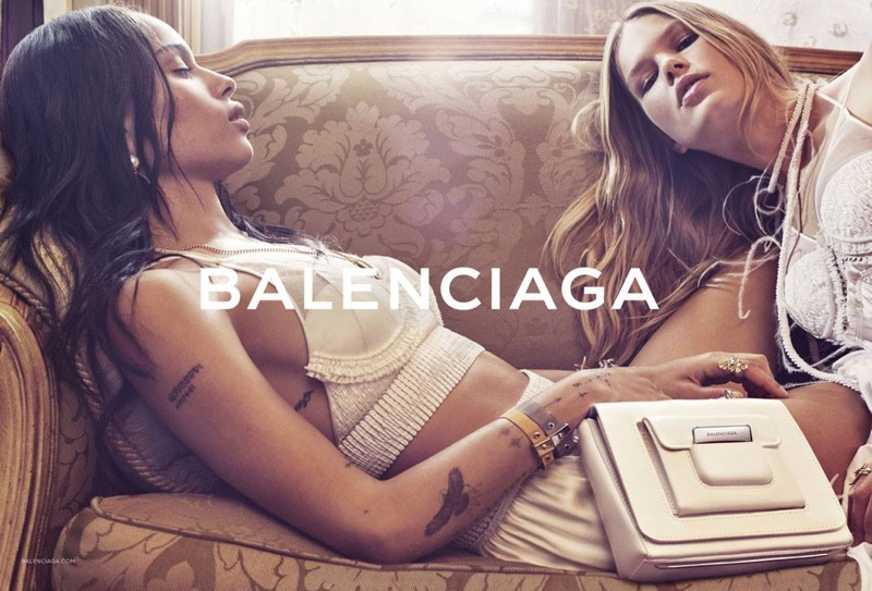 Zoe and Anna pose in lingerie inspired looks from Balenciaga's spring collection