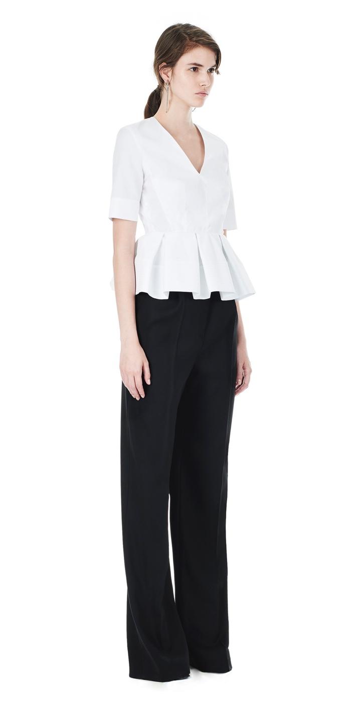 Balenciaga White Short Sleeve Peplum Top