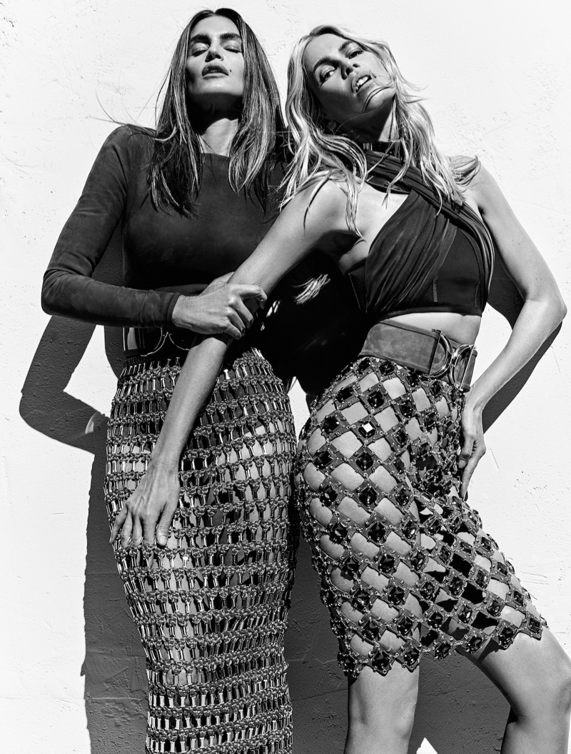 Supermodels Cindy Crawford and Claudia Schiffer strike a pose for Balmain's spring 2016 campaign