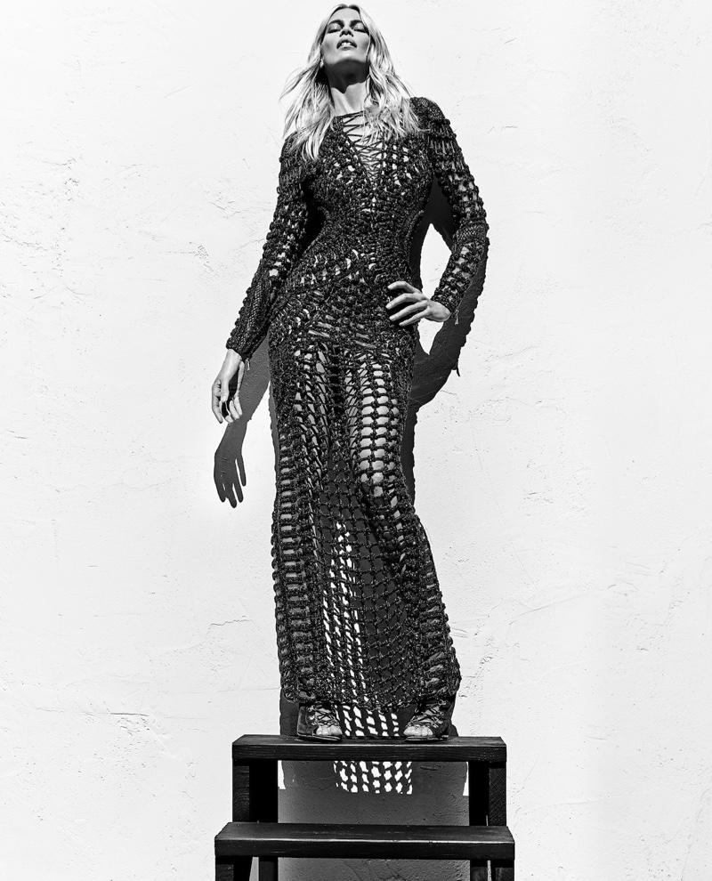 Claudia Schiffer flaunts her figure in semi-sheer dress for Balmain's spring 2016 campaign