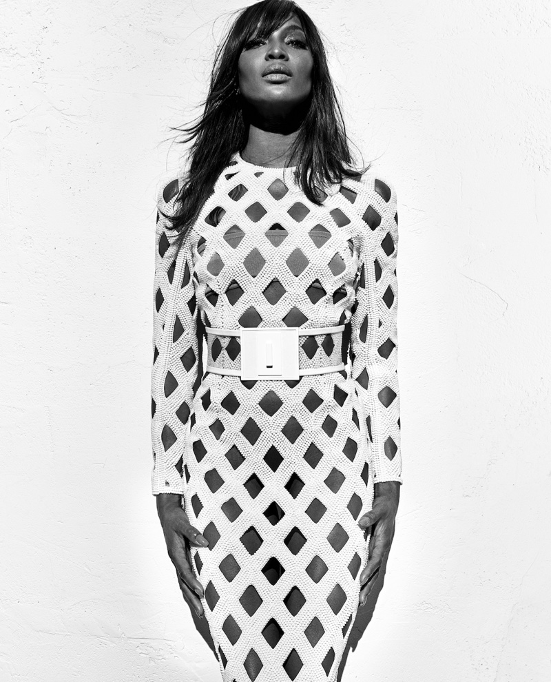 Naomi Campbell wears white bodycon dress in Balmain's spring 2016 campaign