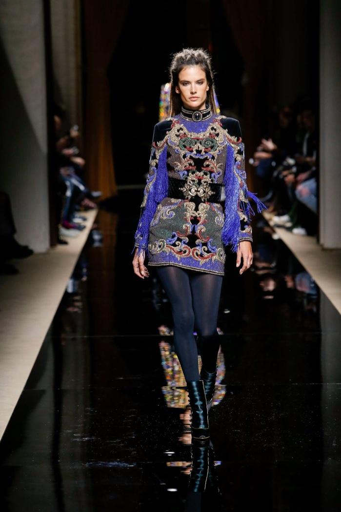 Alessandra Ambrosio walks the runway at Balmain's fall 2016 menswear show