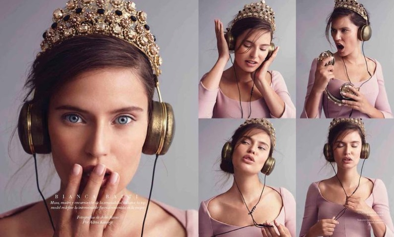 Bianca poses in crown, headphones and pink dress from Dolce & Gabbana