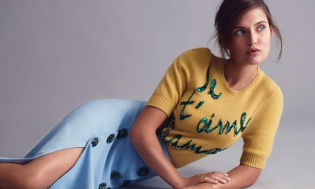 Bianca Balti models yellow sweater and blue pencil skirt from Dolce & Gabbana