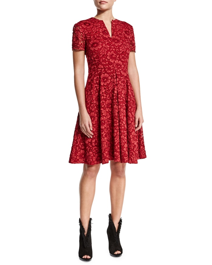 Burberry London Short Sleeve Floral Lace Dress