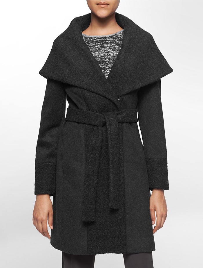 Calvin Klein Boucle Belted Knit Coat