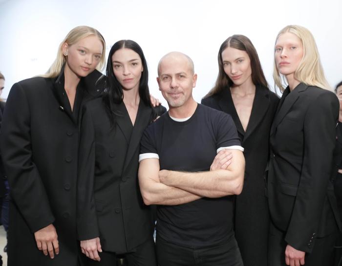 Gemma Ward, Mariacarla Boscono, Jessica Miller and Iselin Steiro at Calvin Klein Collection Men's Fall 2016 with designer Italo Zucchelli. Photo: BFAnyc.com