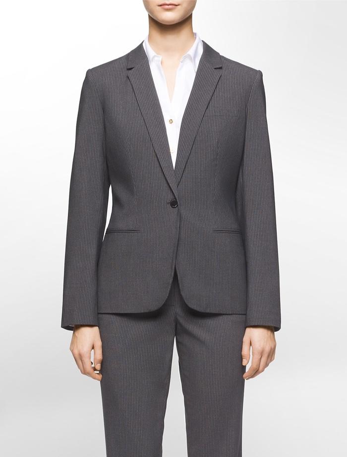 Calvin Klein One Button Pinstripe Suit Jacket