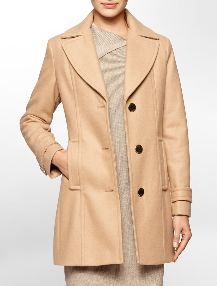Calvin Klein Single Breasted Peacoat in Camel