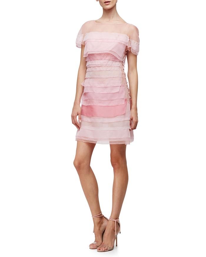 Carolina Herrera Short Sleeve Silk Organza Minidress