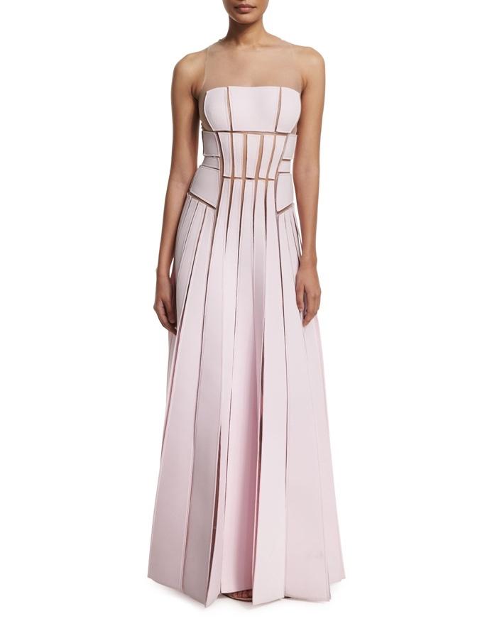Carolina Herrera Sleeveless Illusion Gown