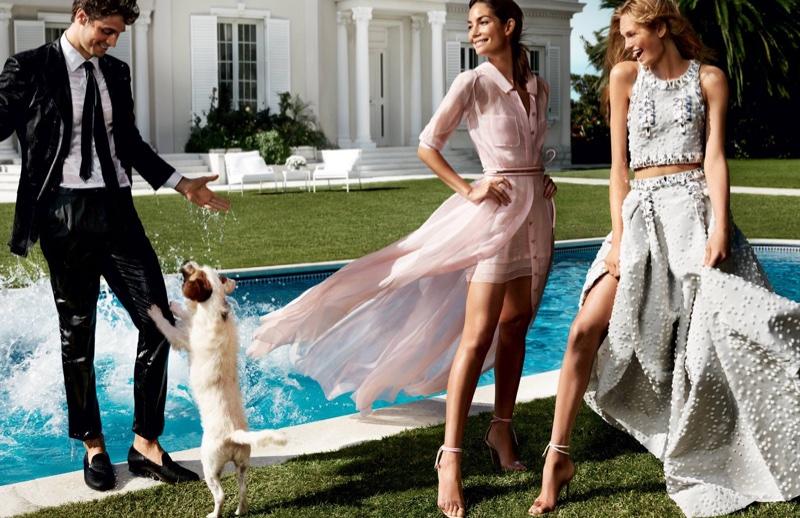 Lily Aldridge and Romee Strijd star in Carolina Herrera's spring 2016 campaign