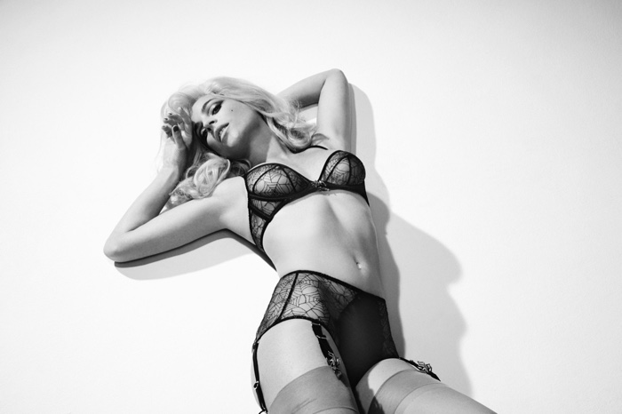 Julia Restoin-Roitfeld poses for Charlotte Olympia x Agent Provocateur
