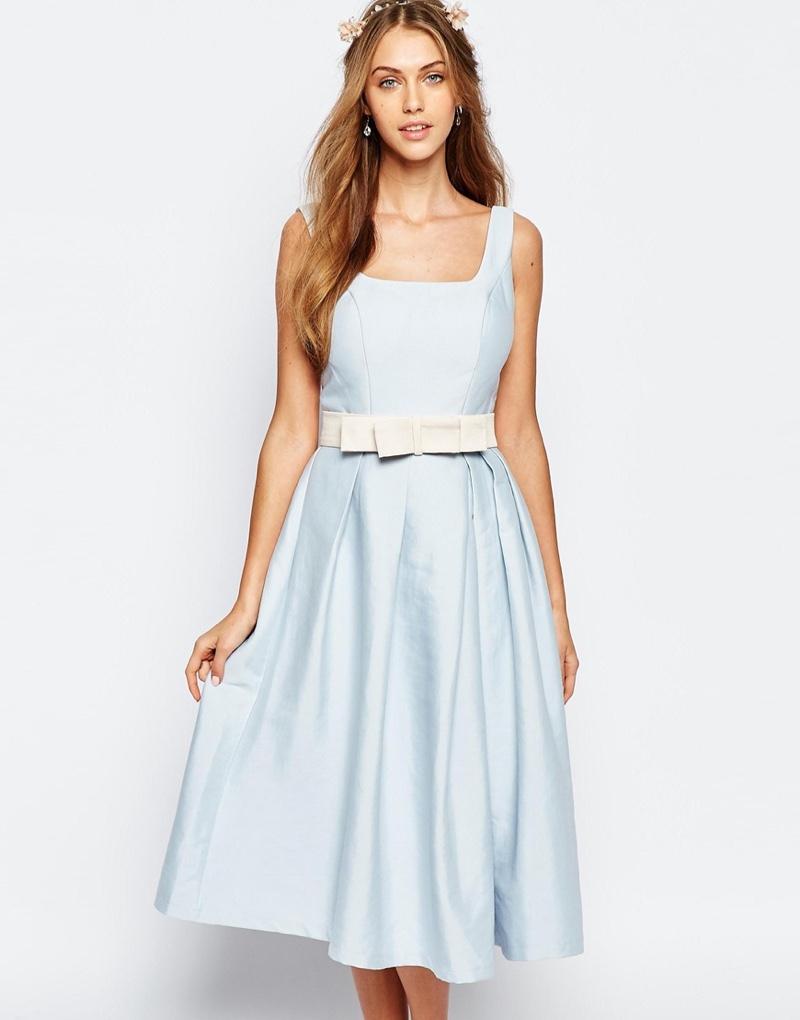 Chi Chi London Midi Blue Prom Dress