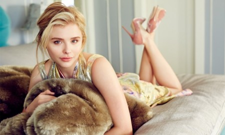 Chloe Grace poses in brocade dress by Woik Morais