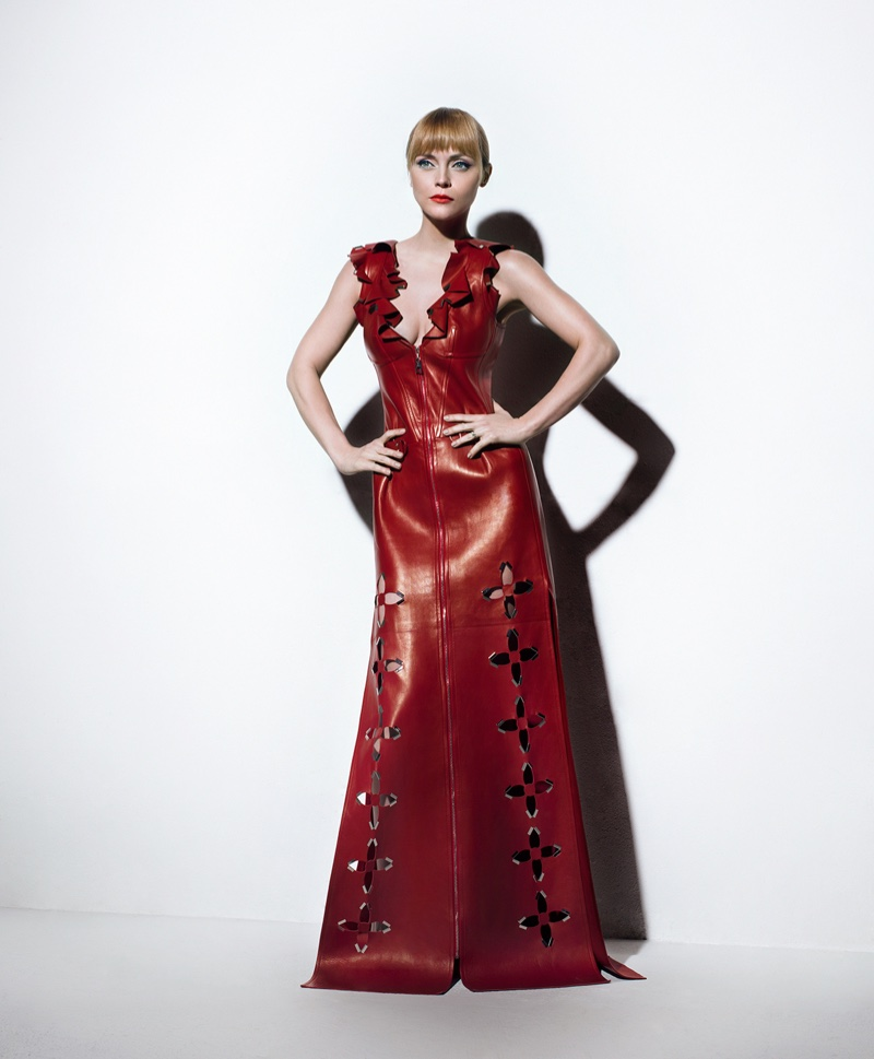 Christina Ricci poses in red leather Louis Vuitton dress with cut-out details