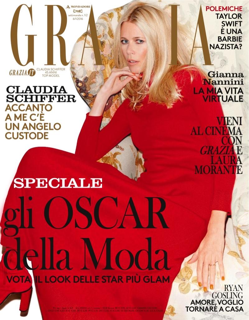 Claudia Schiffer Looks Super Elegant in Grazia Italy