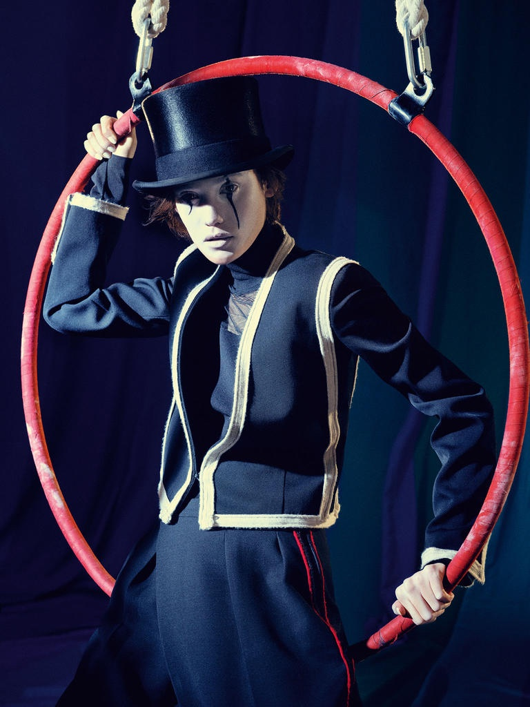 THE RING LEADER: Model wears jacket by Lanvin, Roland Mouret top and Christys` Hat