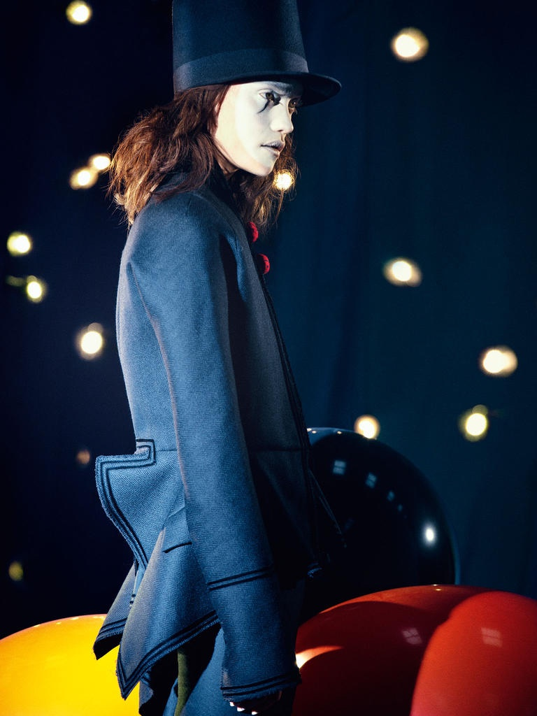 HATS OFF: Model wears Victorian inspired jacket from Givenchy by Riccardo Tisci and top hat design